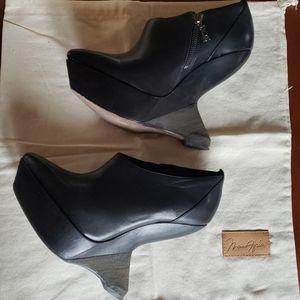 Maz Azaria black vintage inspired wedge bootie